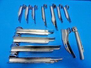 13 x Welch Allyn Rusch Mercury Foregger Guedel Wis Mil & MAC Laryngoscope for sale