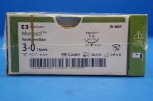 "COVIDIEN SN-5669 Monosof 3-0, Monofilament Nylon, 18"", P-12 Cutting - Box of 36 Sutures for sale"