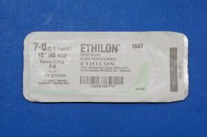 ETHICON 1647 7-0 ETHILON, P-6 8.0mm 3/8c Reverse Cutting, Black Monofilament 18 Sutures for sale