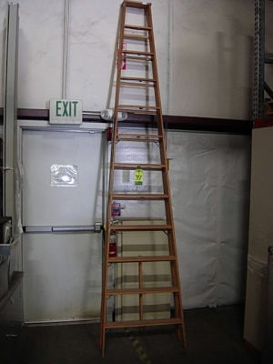 Used Keller Step Ladder Wooden Folding 12 Foot For Sale